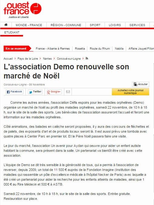 Ouest France - Marché de Noel pour Aydan - Demo - 22 novembre 2014