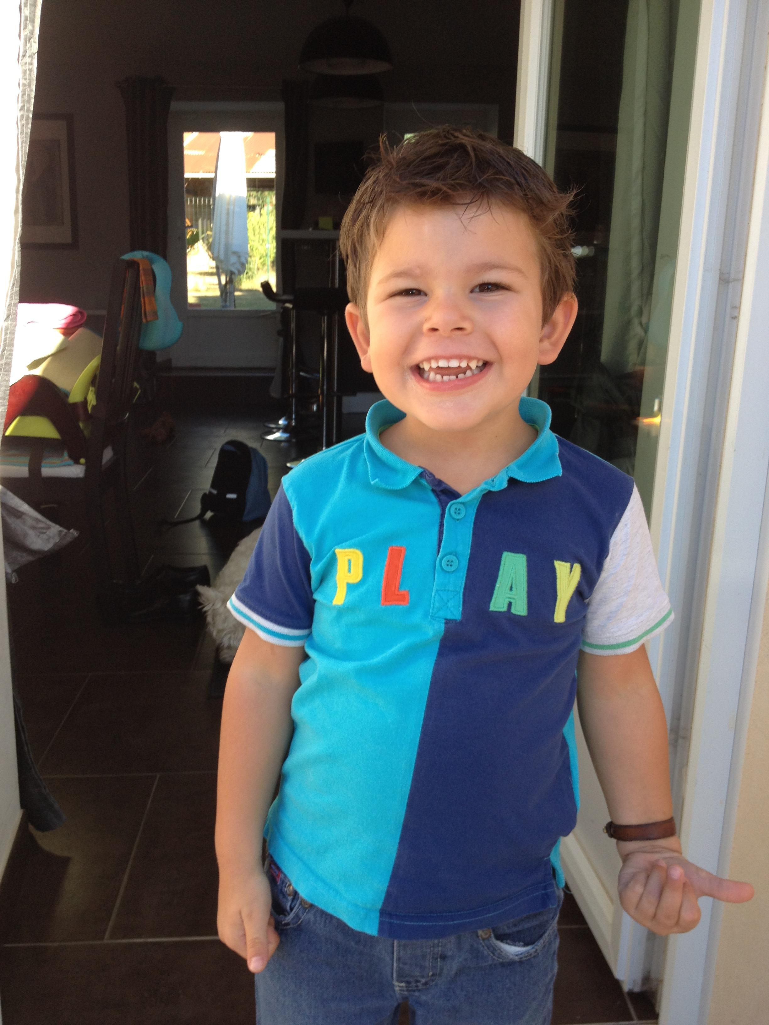 Aydan le jour de sa rentrée scolaire